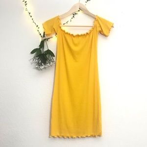 Heart & Hips Yellow Mini Dress Off the Shoulder